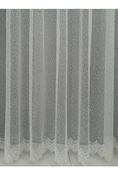 Esdeh Grek Brode İşlemeli Pileli Tül Perde Normal (1'e 2.5) Pile Dikim