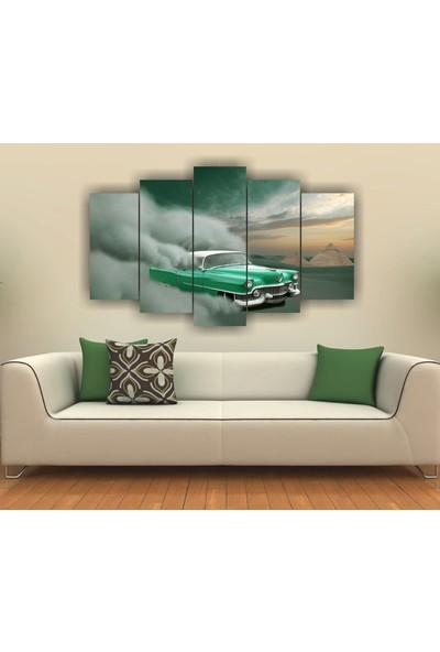 Alice Decor Yeşil Spor Araba Dekoratif 5 Parça Mdf Tablo