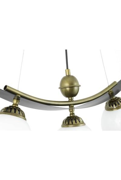Lambadar Üçlü Modern Tarz Kayık Model Metal Camlı Sarkıt Avize