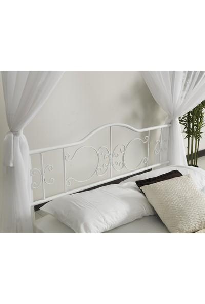 Argimo Prenses Çift Kişilik Başlıklı Metal Karyola 140 x 190 cm Yatak Ölçülü