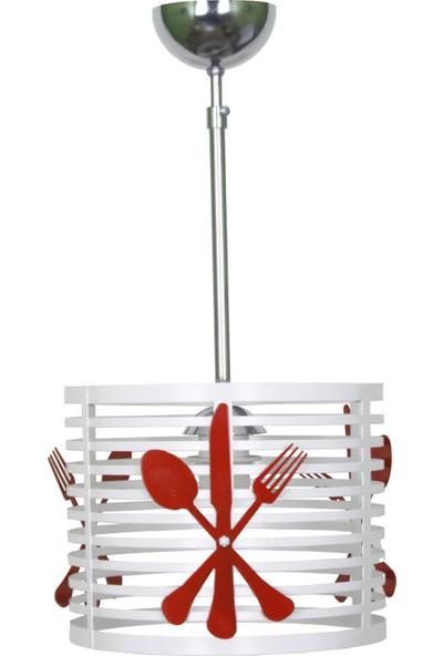Taşcan Aydınlatma Mazgal Mutfak Tekli Beyaz Kasa Kırmızı Çatal Bıçak Avize