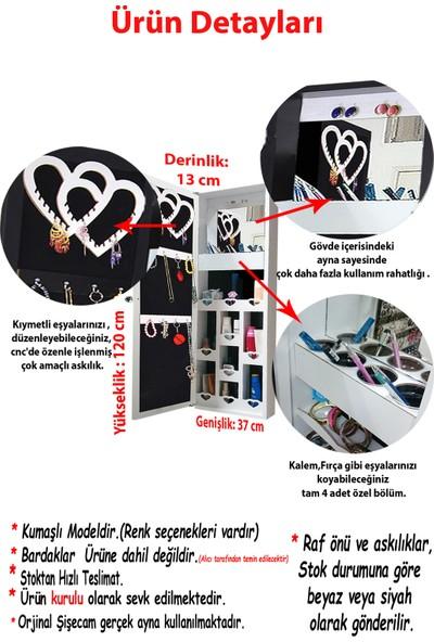 First Mobilya Trendy (Ia) - Kilitli - Kurulu - Duvara Asma - Takı Dolabı - Gövde Beyaz / Kumaş Fuşya