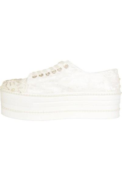 Ayakcenter Beyaz 6 cm Dolgu Taban Kadın Gelinlik Spor Ayakkabı 38