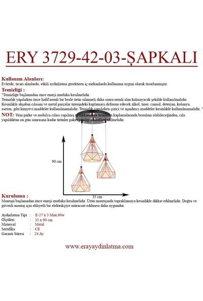 Eray Aydınlatma Ery 3729-42-03-ŞAPKALI Rose Piramit 3 Lü Avize