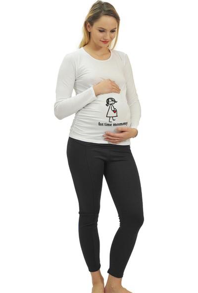 Elija Lingerie Elija Hamile Kalp T-Shirt Uzun Kol