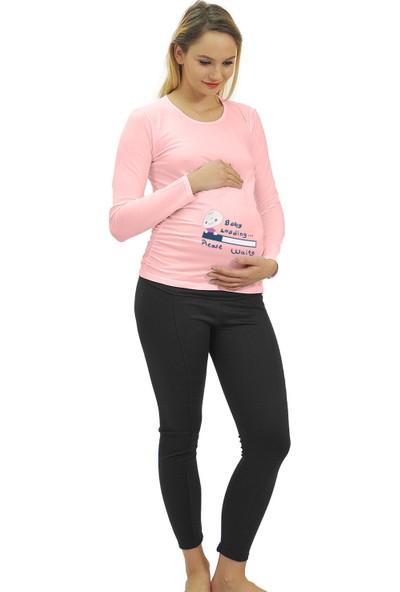 Elija Lingerie Elija Hamile Baby Loading T-Shirt Uzun Kol
