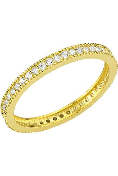 Girabella Zirkon Taşlı Gold Kaplama Micro Tamtur Gümüş Yüzük
