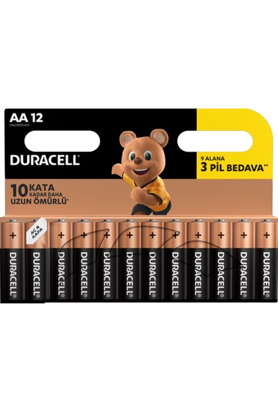 Duracell Alkalin AA Kalın Kalem Pil (9+3) 12'li Paket