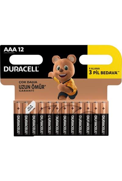 Duracell Alkalin AAA İnce Kalem Pil (9+3) 12'li Paket