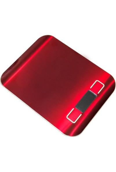 Techfit TF1002 Dijital Hassas LED Ekran Mutfak Terazisi 5 kg - Kırmızı