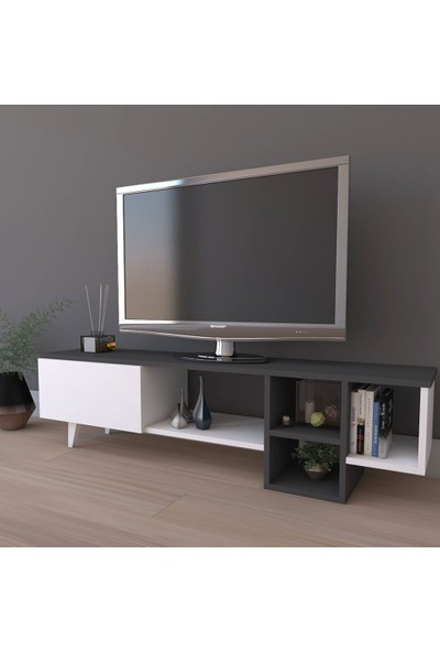 PlatinReyon Platin Dekoratif Raflı Tv Ünitesi Televizyon Sehpası Antrasit