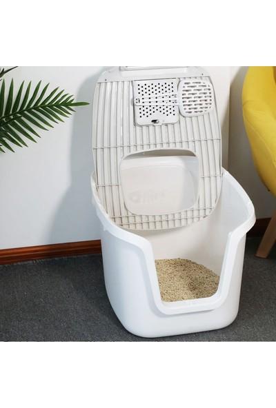 New Generation 3'ü 1 Arada Kapalı Kedi Tuvaleti Beyaz 54 x 44 x 36,5 cm