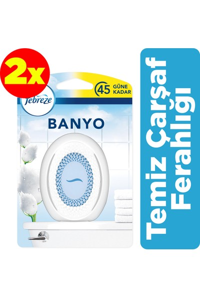 Febreze Hava Ferahlatıcı Banyo Oda Kokusu Temiz Çarşaf Ferahlığı x2