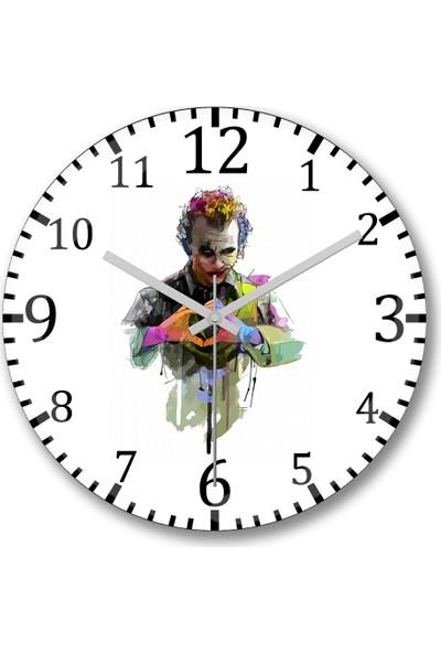 Baskı Dükkanı Coringa Heath Ledger Joker Duvar Saati Bombeli Gercek Cam