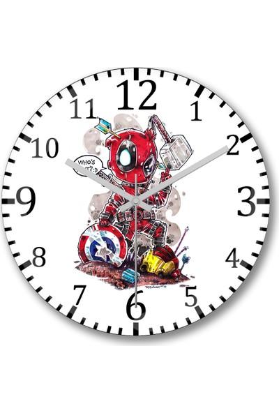 Baskı Dükkanı Deadpool Marvel Duvar Saati Bombeli Gercek Cam