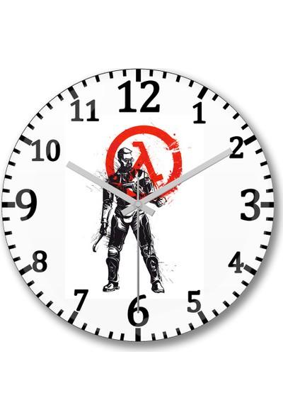 Baskı Dükkanı Half Life Gordon Freeman Duvar Saati Bombeli Gercek Cam