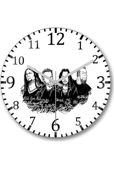Baskı Dükkanı Metallica Duvar Saati Bombeli Gercek Cam