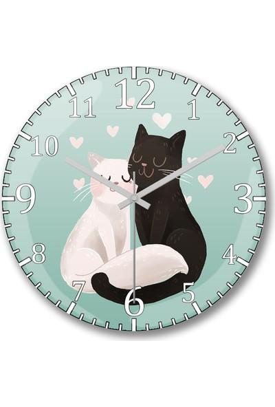 Baskı Dükkanı Sevgili Kediler Tasarım Sessiz Duvar Saati Bombeli Gercek Cam----