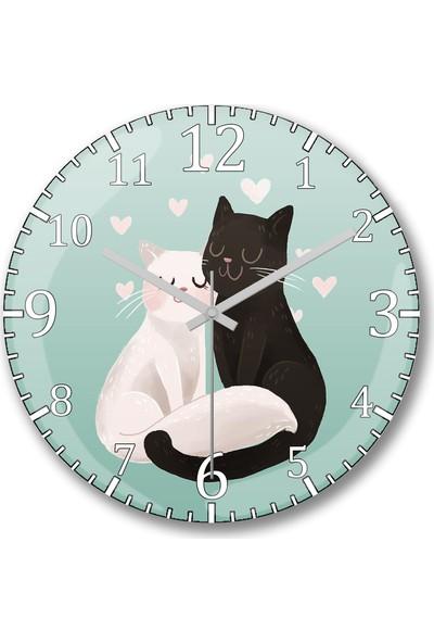 Baskı Dükkanı Sevgili Kediler Tasarım Sessiz Duvar Saati Bombeli Gercek Cam---Ü