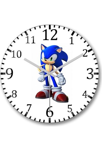Baskı Dükkanı Sonic Mania Duvar Saati Bombeli Gercek Cam