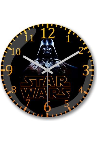 Baskı Dükkanı Star Wars Darth Wader Sessiz Duvar Saati Bombeli Gercek Cam--Ücre