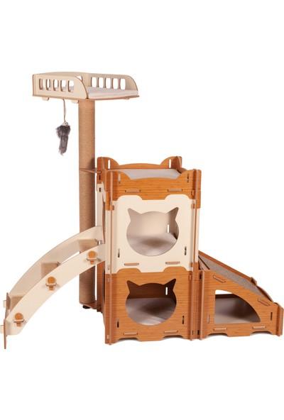 Pati Homes Modüler Kedi Evi Dubleks Merdivenli-Tırmalama Rampalı-Yataklı