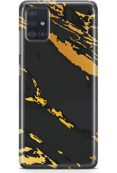 Melefoni Samsung Galaxy A51 Kılıf Marble Mermer Serisi Siyah Altın