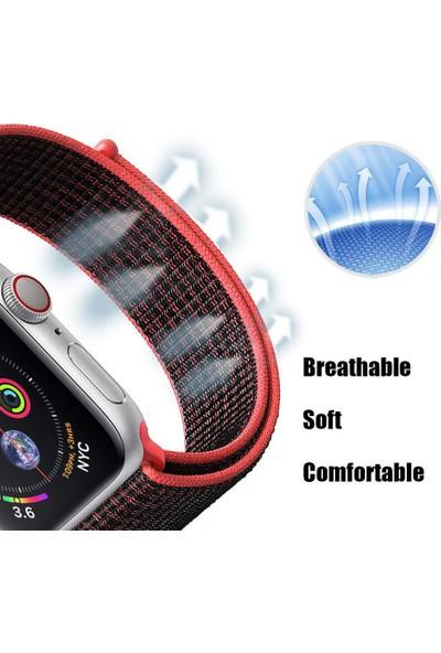 Coverzone Apple Watch 44mm Bilekli Kumaş Kayış Kordon Pembe Siyah Fabric