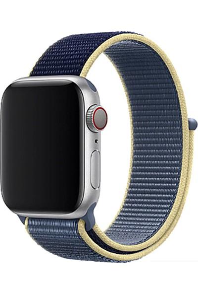 Coverzone Apple Watch 44mm Bilekli Kumaş Kayış Kordon Mavi Fabric