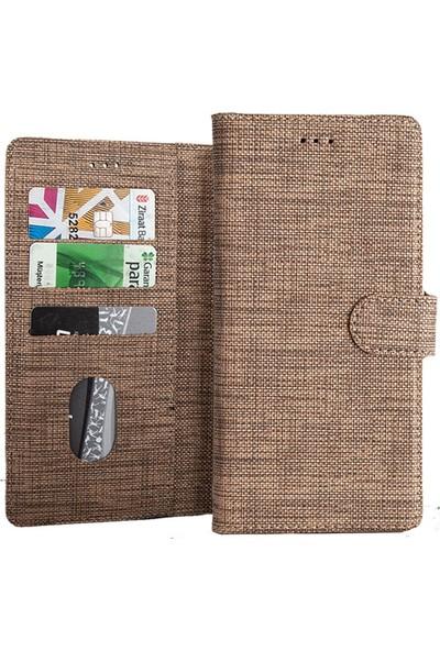 Coverzone Samsung Galaxy Note 4 Standlı Kartvizitli ve Para Gözlü Kumaş Desen Pembe Koyu