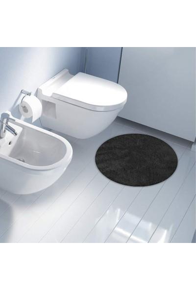 Hepsi Home Soft Banyo Paspası 66x66cm Daire Antrasit - Mavi