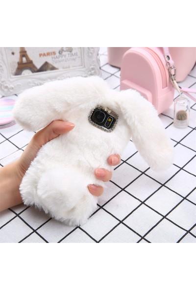 Omeloturkish Samsung Galaxy A20 A205 Kılıf Peluş Tüylü Tavşan Kulak Silikon Tpu Kapak Beyaz
