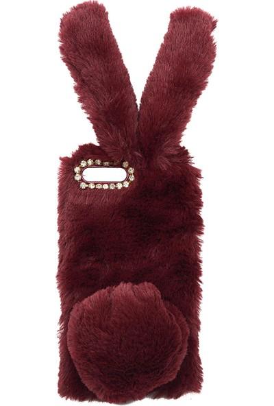 Omeloturkish Samsung Galaxy A20 A205 Kılıf Peluş Tüylü Tavşan Kulak Silikon Tpu Kapak Mürdüm