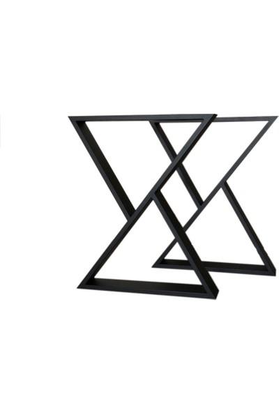 Iskarpela Retro Metal Masa Ayak Üçgen Ayak Kalın Profil 50 x 30 x 1,5 mm
