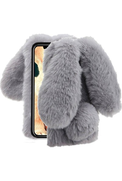 Omeloturkish Xiaomi Mi 6X Kılıf Peluş Tüylü Tavşan Kulak Silikon Tpu Kapak Gri