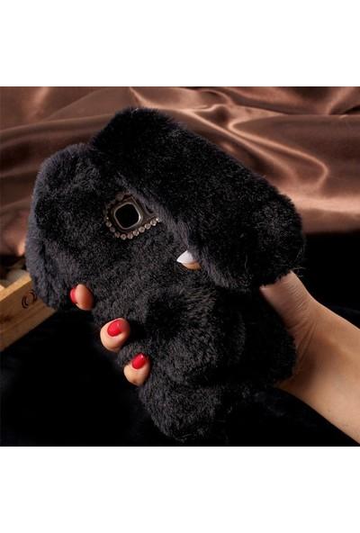 Omeloturkish LG G7 G710 Kılıf Peluş Tüylü Tavşan Kulak Silikon Tpu Kapak Siyah