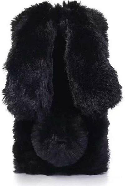 Omeloturkish Vestel Venüs 5530 Kılıf Peluş Tüylü Tavşan Kulak Silikon Tpu Kapak Siyah