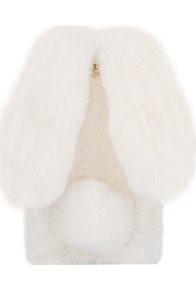 Omeloturkish HTC U11 Lite Kılıf Peluş Tüylü Tavşan Kulak Silikon Tpu Kapak Beyaz