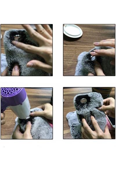 Omeloturkish Sony Xperia T2 Ultra Kılıf Peluş Tüylü Tavşan Kulak Silikon Tpu Kapak Gri