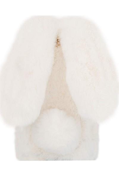 Omeloturkish Sony Xperia C5 Kılıf Peluş Tüylü Tavşan Kulak Silikon Tpu Kapak Beyaz