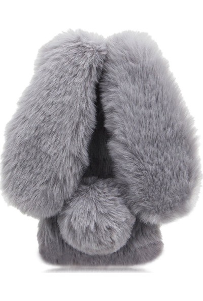 Omeloturkish Alcatel A3 XL Kılıf Peluş Tüylü Tavşan Kulak Silikon Tpu Kapak Gri