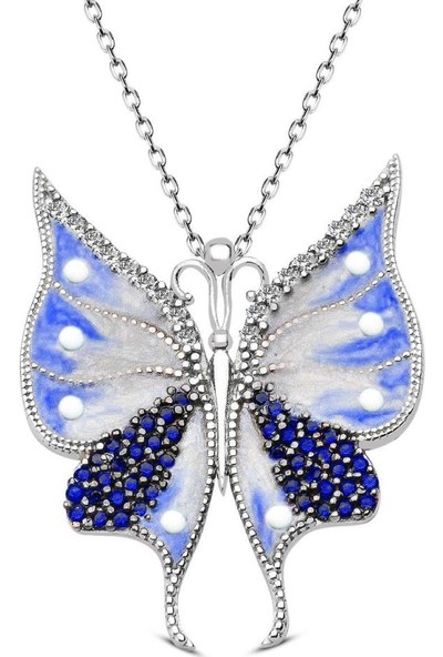 Takı Dükkanı Gümüş Kelebek Kolye Taşlı Mineli Üç Renk WSN131 Mavi