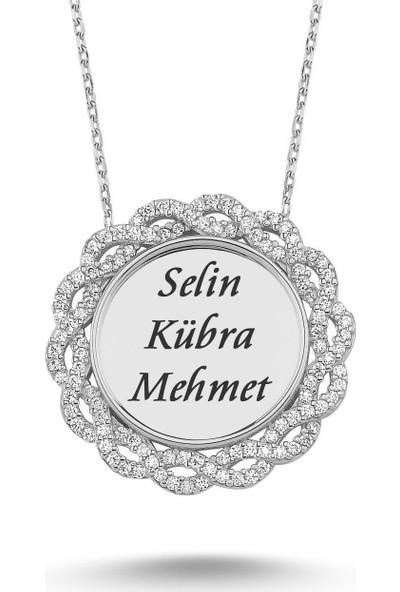 Takı Dükkanı Sonsuzluk Plaka Gümüş Kolye Kişiye Özel Isimli WSN172 Beyaz