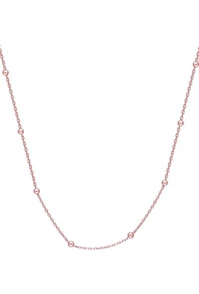 Takı Dükkanı Toplu Gümüş Kolye Zincir 45CM Rose Kaplama WSN228P
