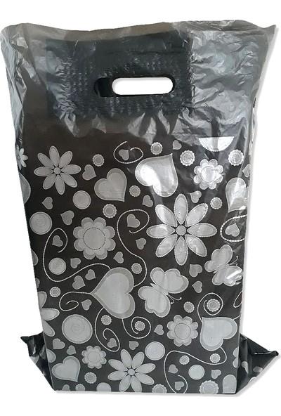 Hoşgör Plastik Takviyeli Poşet Gümüş Kalpli Siyah 40 x 50 2 Paket:100 Adet