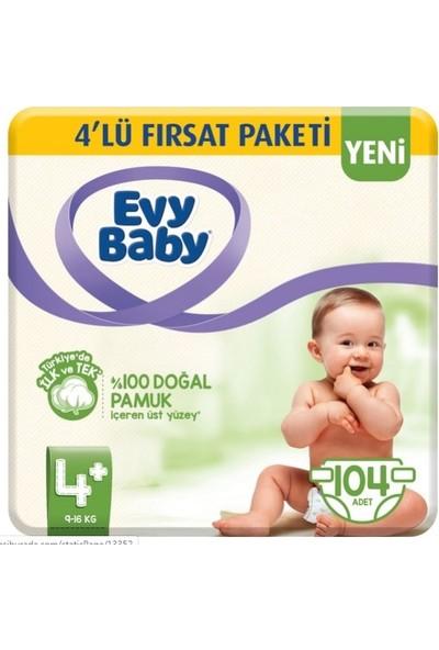 Evy Baby Bebek Bezi Maxı Plus 4+ 26 x 2 Paket Toplam 52 Adet + 2 Paket 56 Yaprak Evy Baby Islak Mendil