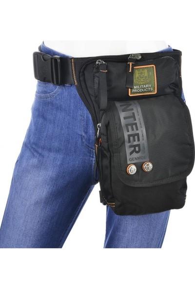 Volunteer Motosiklet Bel Bacak Çantası Siyah CY1609