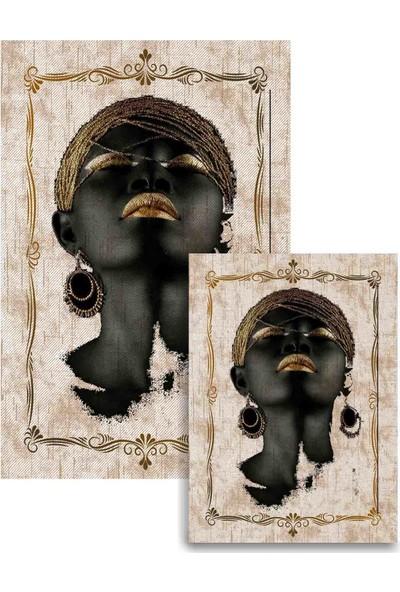 Soley Dod Süngerli Arap Kızı Figürlü Kare 2'li Banyo Paspası 60x100 - 60x50 Ykbk