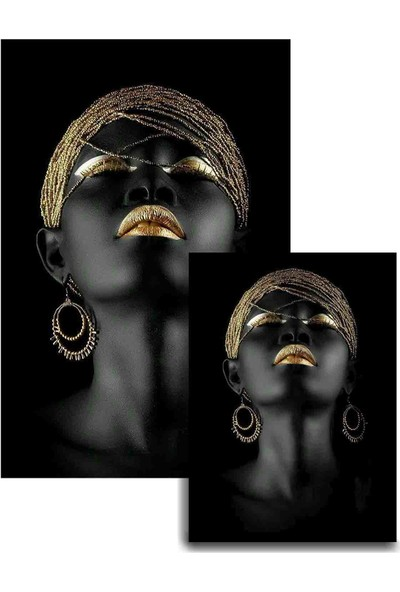 Soley Dod Süngerli Arap Kızı Figürlü Kare 2'li Banyo Paspası 60x100 - 60x50 Siyah
