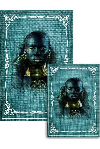 Soley Dod Süngerli Arap Kızı Figürlü Kare 2'li Banyo Paspası 60x100 - 60x50 Mnt